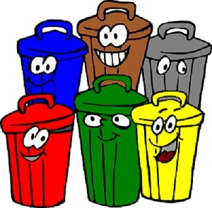 segregation of biomedical waste in different colour bins.